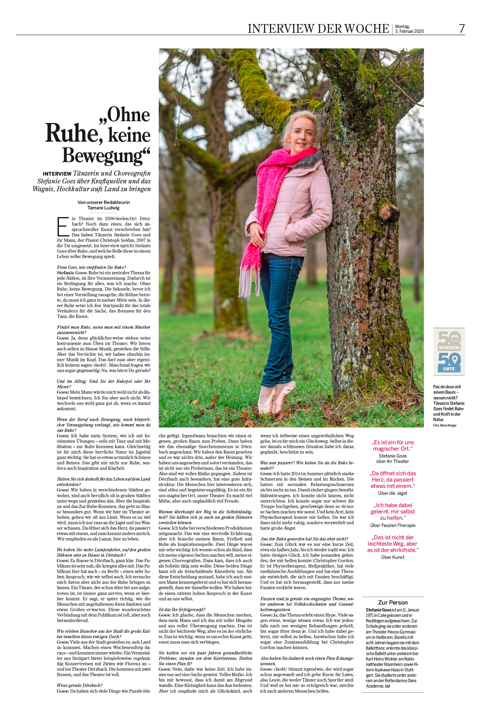 Stefanie Goes: Interview in der Heilbronner Stimme